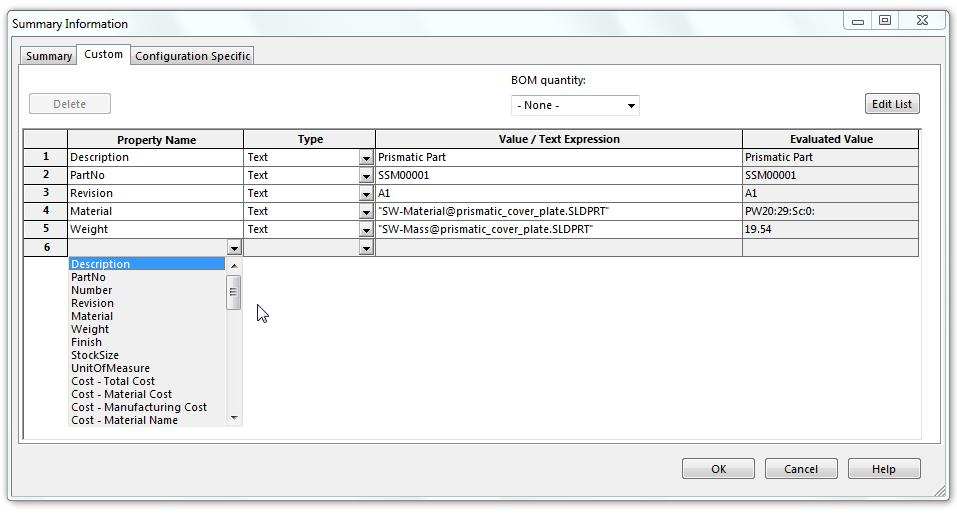 Updating Custom Properties within SOLIDWORKS