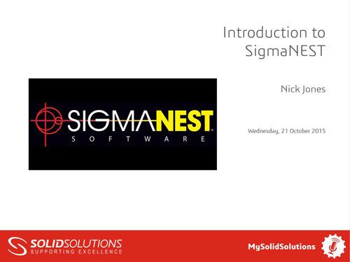 SOLIDWORKS SigmaNEST Webcast
