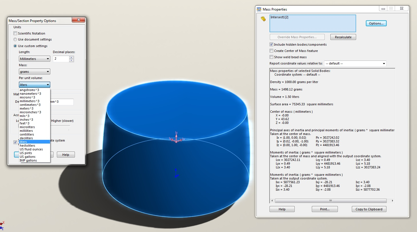 Internal Volume Calculation in SOLIDWORKS