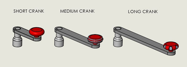 Short Crank, Medium Crank, Long Crank Configuration Examples