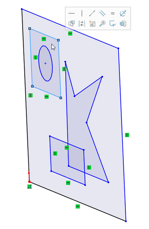 Shaded Sketch Contours, SOLIDWORKS