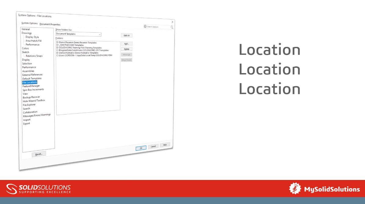 SOLIDWORKS File Locations