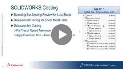 SOLIDWORKS 2017 What's New Video - Costing
