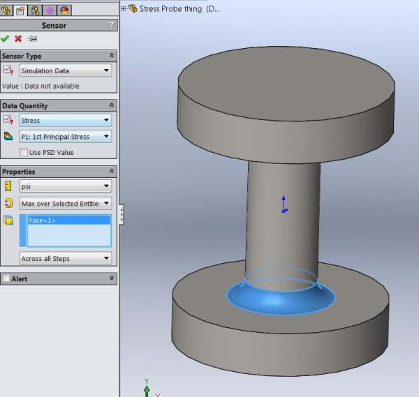 SOLIDWORKS Stress Values in Location 1