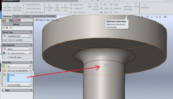 SOLIDWORKS Stress Values in Location 2