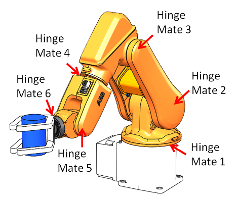 SOLIDWORKS Motion Simulation (showing hinge mate locations)
