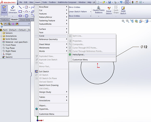 SOLIDWORKS Creating a Helix