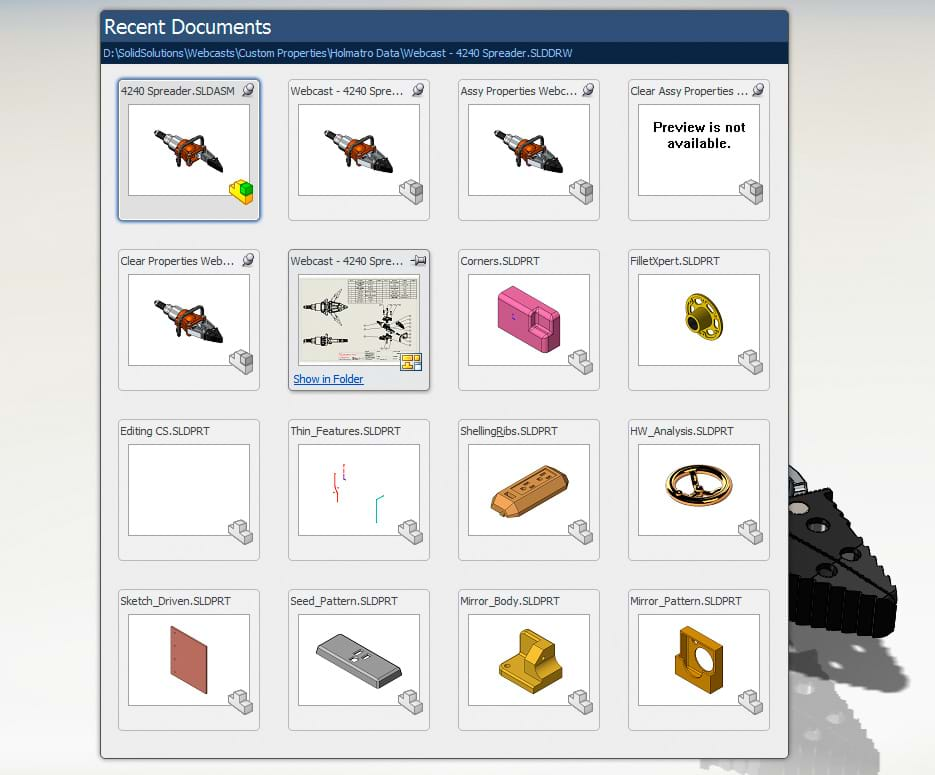 Recent SOLIDWORKS Documents