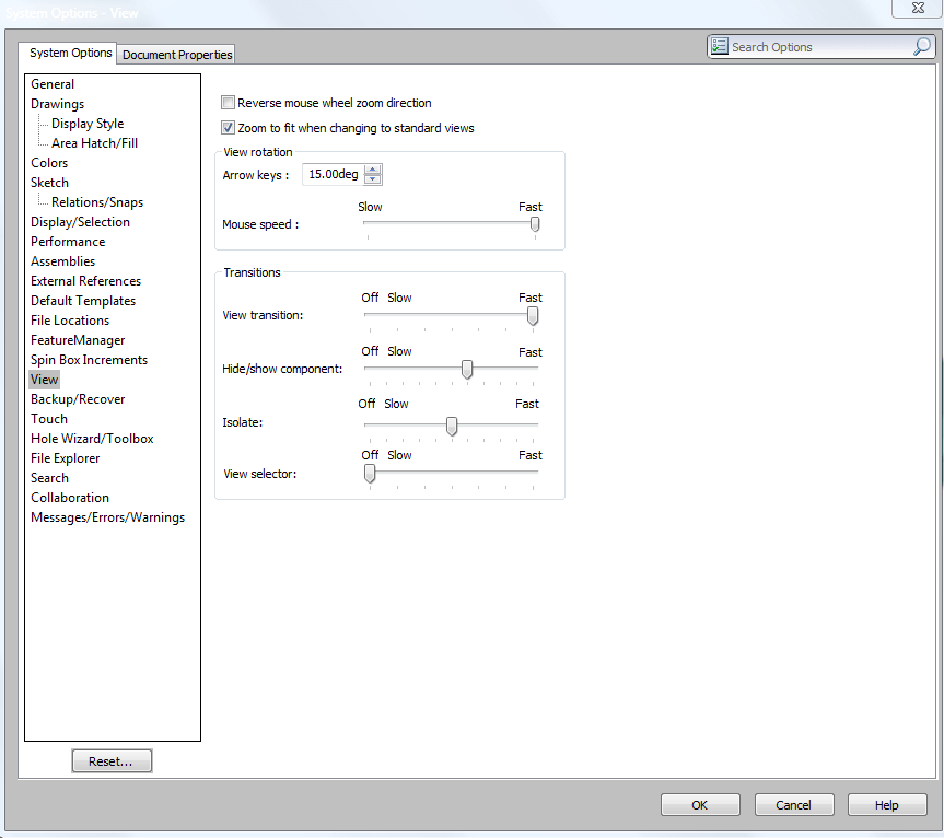 SOLIDWORKS Options