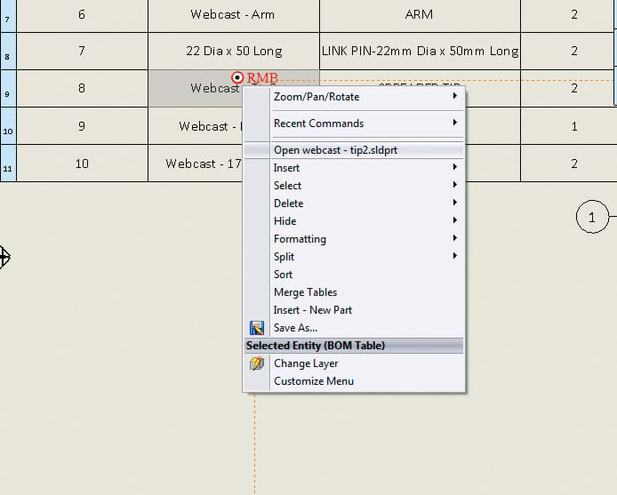 SOLIDWORKS Bill of Materials