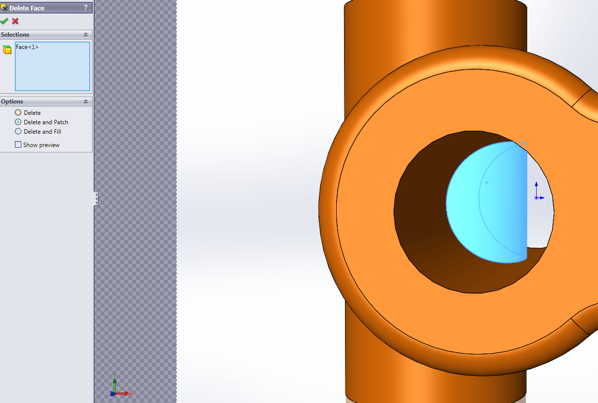 SOLIDWORKS Using Delete Face 2