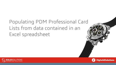 Populating PDM Professional Card Lists from Excel