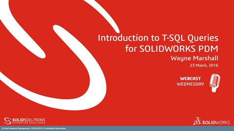 Introduction to T-SQL Queries for SOLIDWORKS PDM